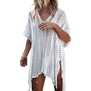 Lace Crochet Beach Swimsuit Coverup One Size